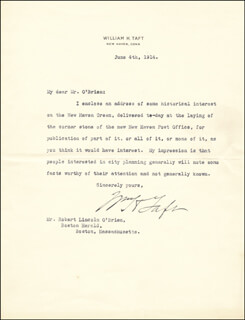 PRESIDENT WILLIAM H. TAFT - TYPED LETTER SIGNED 06/04/1914