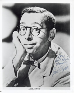 ARNOLD STANG - INSCRIBED PRINTED PHOTOGRAPH SIGNED IN INK