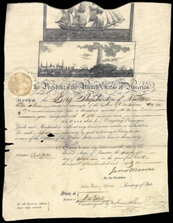 PRESIDENT JAMES MONROE - WHALING SHIPS PAPERS SIGNED 06/22/1821 CO-SIGNED BY: PRESIDENT JOHN QUINCY ADAMS