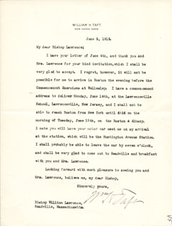 PRESIDENT WILLIAM H. TAFT - TYPED LETTER SIGNED 06/05/1915