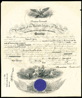PRESIDENT THEODORE ROOSEVELT - NAVAL APPOINTMENT SIGNED 02/21/1905 CO-SIGNED BY: PAUL MORTON