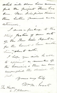 Autographs: WILLIAM M. EVARTS - AUTOGRAPH LETTER SIGNED 06/03/1874