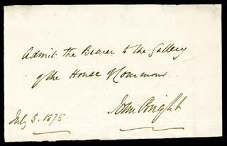 JOHN BRIGHT - AUTOGRAPH PASS SIGNED 07/03/1875
