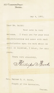 PHILLIPS BROOKS - TYPED LETTER SIGNED 05/04/1891