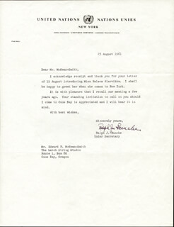 Autographs: RALPH J. BUNCHE - TYPED LETTER SIGNED 08/23/1961