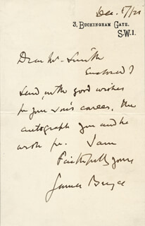 JAMES (1ST VISCOUNT BRYCE) BRYCE (BRITAIN) - AUTOGRAPH LETTER SIGNED 12/17/1920