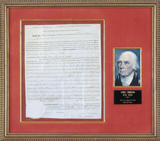 PRESIDENT JAMES MADISON - LAND GRANT SIGNED 03/15/1810 CO-SIGNED BY: ROBERT SMITH (POLITICIAN)