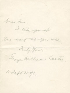 GEORGE WILLIAM CURTIS - AUTOGRAPH LETTER SIGNED 09/11/1891
