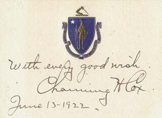 GOVERNOR CHANNING HARRIS COX - PRINTED CARD SIGNED IN INK 06/13/1922