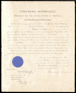 Autographs: PRESIDENT THEODORE ROOSEVELT - NAVAL APPOINTMENT SIGNED 03/11/1907 CO-SIGNED BY: VICTOR H. METCALF