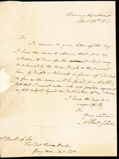 Autographs: ALBERT GALLATIN - AUTOGRAPH LETTER SIGNED 04/28/1812
