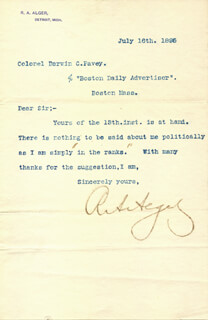 Autographs: RUSSELL A. ALGER - TYPED LETTER SIGNED 07/16/1895