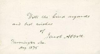 JACOB ABBOTT - AUTOGRAPH SENTIMENT SIGNED 8/1875