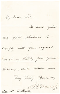 Autographs: MAJOR GENERAL NATHANIEL P. BANKS - AUTOGRAPH LETTER SIGNED