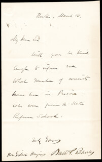 Autographs: MAJOR GENERAL NATHANIEL P. BANKS - AUTOGRAPH LETTER SIGNED 3/1