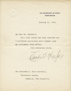 CHIEF JUSTICE CHARLES E HUGHES - TYPED LETTER SIGNED 01/21/1925