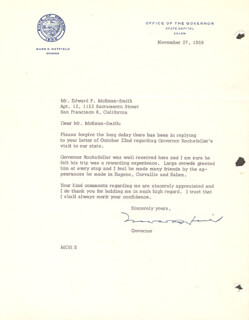 MARK O. HATFIELD - TYPED LETTER SIGNED 11/27/1959