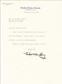 VICE PRESIDENT HUBERT H. HUMPHREY - TYPED LETTER SIGNED 09/14/1977