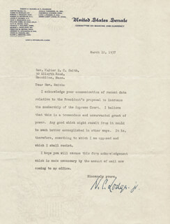 HENRY CABOT LODGE JR. - TYPED LETTER SIGNED 03/12/1937
