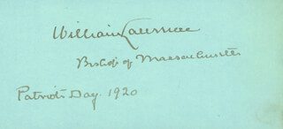 Autographs: WILLIAM LAWRENCE - SIGNATURE(S) 1920