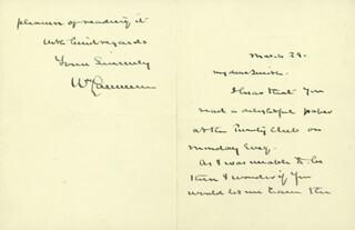 WILLIAM LAWRENCE - AUTOGRAPH LETTER SIGNED 3/29