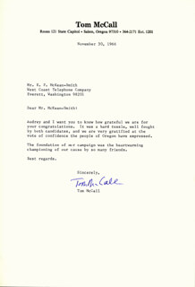 THOMAS McCALL - TYPED LETTER SIGNED 11/30/1966