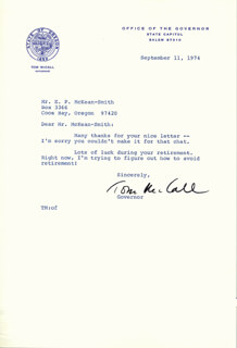 THOMAS McCALL - TYPED LETTER SIGNED 09/11/1974
