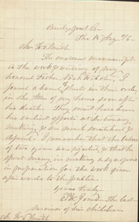ELIZA STEELE WEBSTER JONES - AUTOGRAPH LETTER SIGNED 08/15/1876