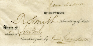PRESIDENT JAMES MADISON - SHIPS PAPERS 04/25/1809 CO-SIGNED BY: DAVID GELSTON, ROBERT SMITH (POLITICIAN)