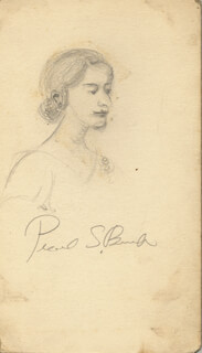 PEARL S. BUCK - SKETCH SIGNED