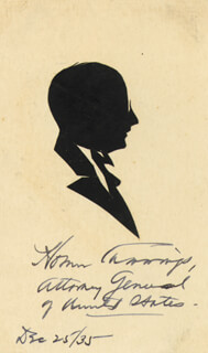 Autographs: HOMER S. CUMMINGS - ORIGINAL ART SIGNED 12/25/1935 CO-SIGNED BY: BETTY KAUFMAN