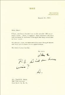 PRESIDENT DWIGHT D. EISENHOWER - TYPED LETTER SIGNED 08/26/1965