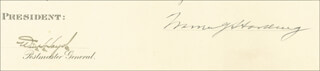 PRESIDENT WARREN G. HARDING - CIVIL APPOINTMENT SIGNED 01/27/1922 CO-SIGNED BY: WILL H. HAYS