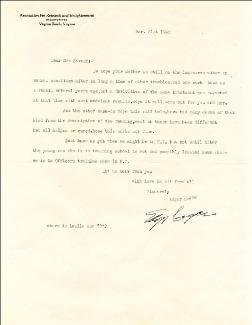 Autographs: EDGAR CAYCE - TYPED LETTER SIGNED 03/31/1942