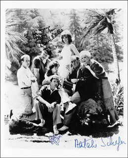 GILLIGAN'S ISLAND TV CAST - AUTOGRAPHED SIGNED PHOTOGRAPH CO-SIGNED BY: JIM BACKUS, BOB DENVER, NATALIE SCHAFER, TINA LOUISE, DAWN WELLS