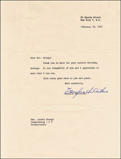 GENERAL DOUGLAS MACARTHUR - TYPED LETTER SIGNED 02/10/1953