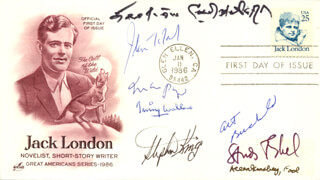 MARIO PUZO - FIRST DAY COVER SIGNED CO-SIGNED BY: STEPHEN KING, ALLEN GINSBERG, IRVING WALLACE, ART BUCHWALD, ERSKINE CALDWELL, JOHN W. TOLAND