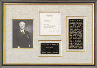 Autographs: BERNARD M. BARUCH - TYPED LETTER SIGNED 05/27/1955