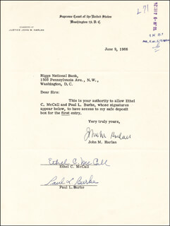 ASSOCIATE JUSTICE JOHN M. HARLAN JR. - DOCUMENT SIGNED 06/09/1966