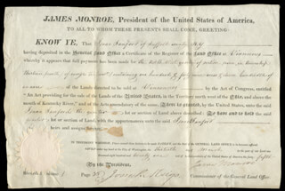 PRESIDENT JAMES MONROE - LAND GRANT SIGNED 03/30/1821 CO-SIGNED BY: JOSIAH MEIGS