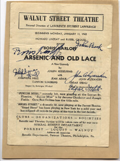 Autographs: ARSENIC AND OLD LACE PLAY CAST - SHOW BILL SIGNED CIRCA 1943 CO-SIGNED BY: JOHN ALEXANDER, EDGAR STEHLI, JOSEPHINE HULL, BORIS KARLOFF, JOHN BECK