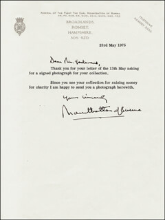 Autographs: ADMIRAL LOUIS MOUNTBATTEN - TYPED LETTER SIGNED 05/23/1975