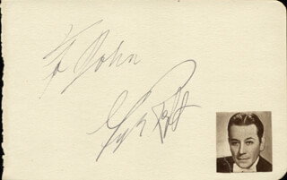 GEORGE RAFT - INSCRIBED SIGNATURE