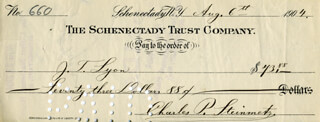 CHARLES P. STEINMETZ - AUTOGRAPHED SIGNED CHECK 08/06/1904
