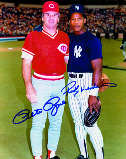 PETE ROSE - AUTOGRAPHED SIGNED PHOTOGRAPH CO-SIGNED BY: RICKEY HENDERSON