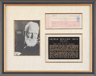 GEORGE BERNARD SHAW - AUTOGRAPHED SIGNED CHECK 04/23/1937 CO-SIGNED BY: SIEGFRIED TREBITSCH