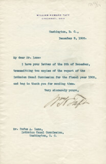PRESIDENT WILLIAM H. TAFT - TYPED LETTER SIGNED 12/09/1908