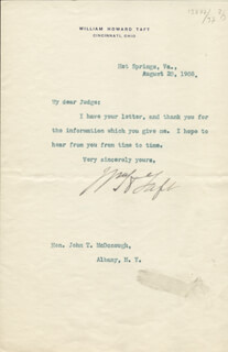PRESIDENT WILLIAM H. TAFT - TYPED LETTER SIGNED 08/20/1908