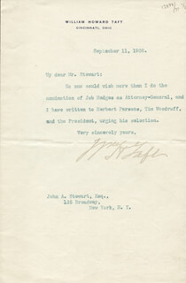 PRESIDENT WILLIAM H. TAFT - TYPED LETTER SIGNED 09/11/1908