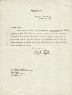 PRESIDENT WILLIAM H. TAFT - TYPED LETTER SIGNED 10/12/1919